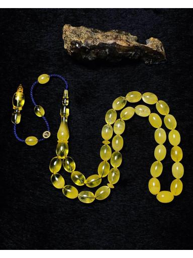 Özel Usta İşçilikli Baltık Naturel Amber Damla Kehribar Tesbih