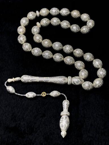 Özel Usta İşçilikli Komple Gümüş Kakma 11x14mm Ölçülerinde Özel Koleksiyonluk Fil Dişi Tesbih