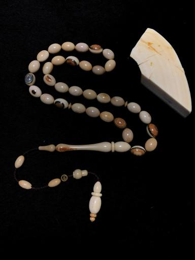 Özel Oyma ve Delme İmame ve Hitameli Koleksiyonluk Kahverengi Mamut Dişi Tesbih