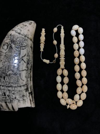 8,5 x 12,5 mm Özel Koleksiyonluk Usta İşçilikli Kambur Balina Dişi Tesbih BD1