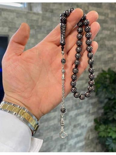 Usta İşi Özel Püskül Takımlı Abanoz Ağacı Üzeri Gümüş Kakma Tesbih