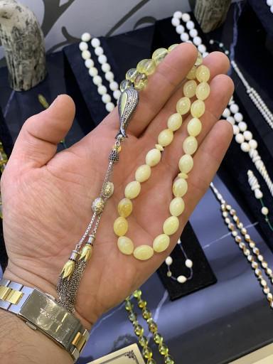 Özel Lale İmame Koleksiyonluk Baltık Naturel Amber Damla Kehribar Tesbih