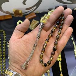 Özel Lale İmame Fosilli Baltık Naturel Amber Damla Kehribar Tesbih