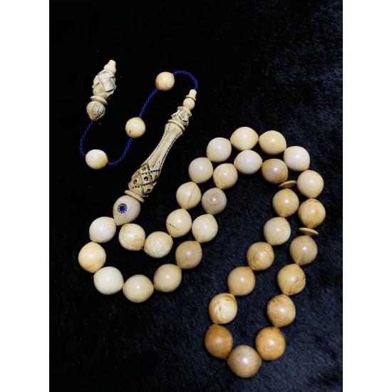 Özel Oyma ve Delme İmame ve Hitameli Altın Safir Kakmalı 11-14mm Koleksiyonluk Kahverengi Mamut Dişi Tesbih