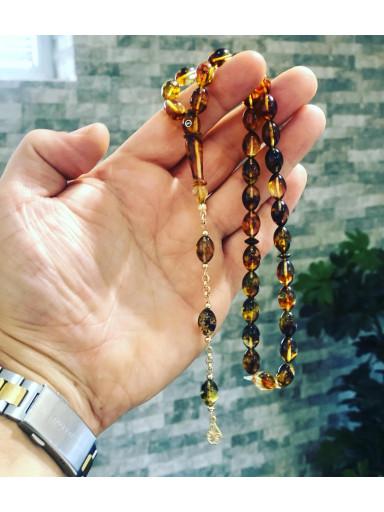 Fosilli Baltık Naturel Amber Gold Concept Limited Edition Damla Kehribar Tesbih
