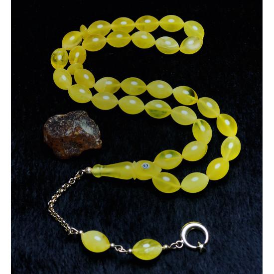 Sistemli Usta İşçilikli Gold Edition Baltık Naturel Amber Damla Kehribar Tesbih