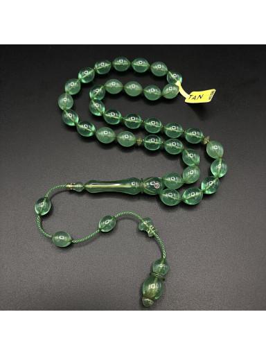 Amberoid Sistemli Usta İşçilikli Yeşil Tesbih